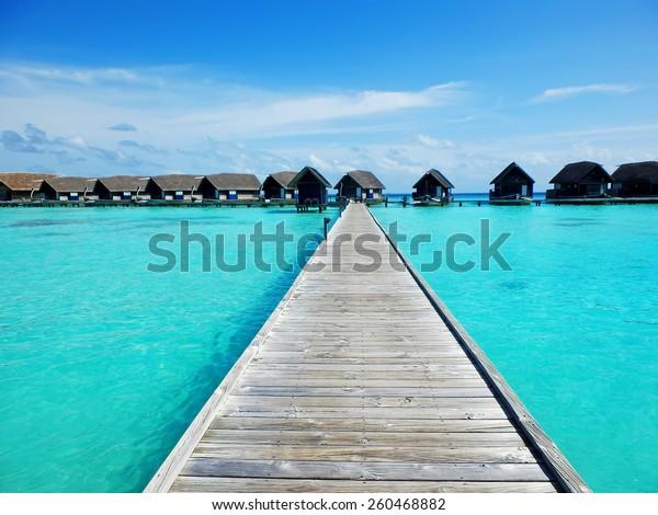 Picturesque Pathway Cocoa Island Hotel Maldives Stock Photo