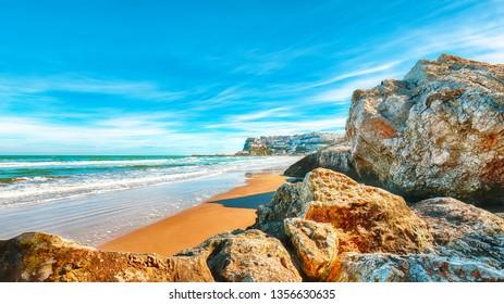 Picturesque Peschici with wide sandy beach in Puglia, adriatic coast of Italy. Location Peschici, Gargano peninsula, Apulia, southern Italy, Europe.