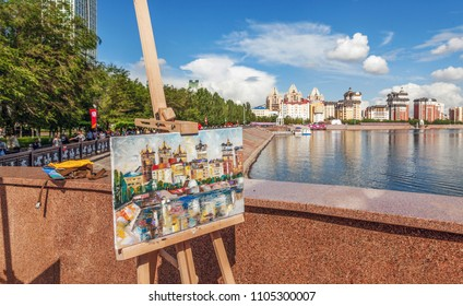 The picturesque picture is painted in the open air in the city of Astana. Kazakhstan.  Author: Nikolay Sivenkov