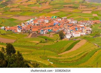 The picturesque Poombarai village in the lap of Nilgiri hills near Kodaikanal