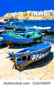 Picturesque  port of Gallipoli, view with old boats, Puglia , It