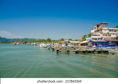 picturesque port harbor pier dock in livingston guatemala