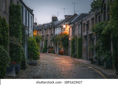 The picturesque and quaint Circus Lane in the Stockbridge neighbourhood of Edinburgh, Scotland