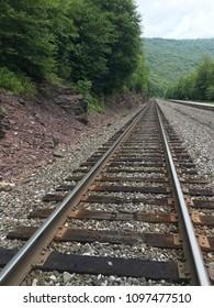 Picturesque Railroad Tracks Near Jim Thorpe, Pennsylvania