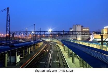 The picturesque railway station in Dnipro city at night. Dnepropetrovsk, Dnipropetrovsk, Dnepr, Ukraine.