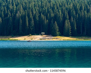 Picturesque relic coniferous forest and a crystal clear lake with blue water. Black lake on a sunny summer day. Durmitor National Park, Zabljak, Montenegro