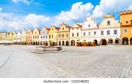 Picturesque renaissance houses on Zacharias of Hradec Square in Telc, Czech Republic, UNESCO World Heritage Site.