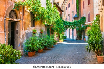The picturesque Rione Trastevere on a summer morning, in Rome, Italy.