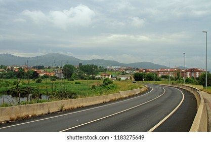 the picturesque road in spanish region Cantabria close to city Santander