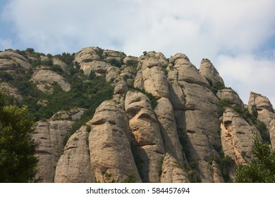Picturesque rocks around Montserrat monastery in Spain