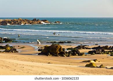 Picturesque Rocky beach of Atlantic Ocean in Matosinhos, City of Porto, Portugal
