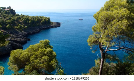 picturesque rocky coastline covered with dense forest and a ship in the blue sea of Aquafredda Basilicata Italy