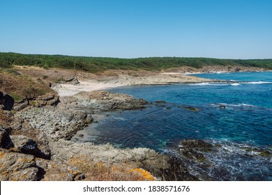 Picturesque rocky coastline with separate small sandy beaches separated by rocks that cut into the blue sea in the background a dense green forest and clear blue sky. - Shutterstock ID 1838571676