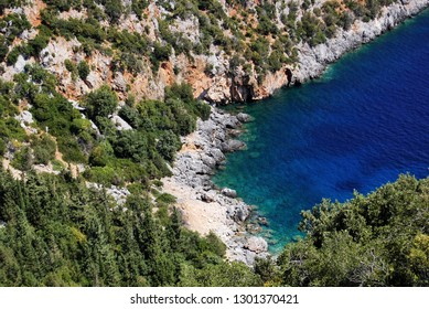 Picturesque rocky cove near Antisamos beach close to Sami on the Greek island of Kefalonia