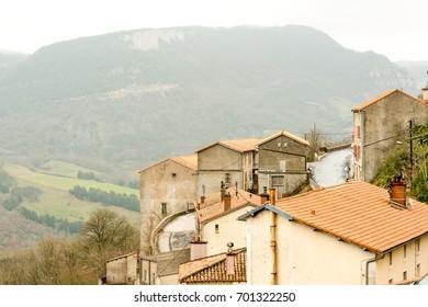 Picturesque Roquefort-sur-Soulzon village in France, famous for its cheese production