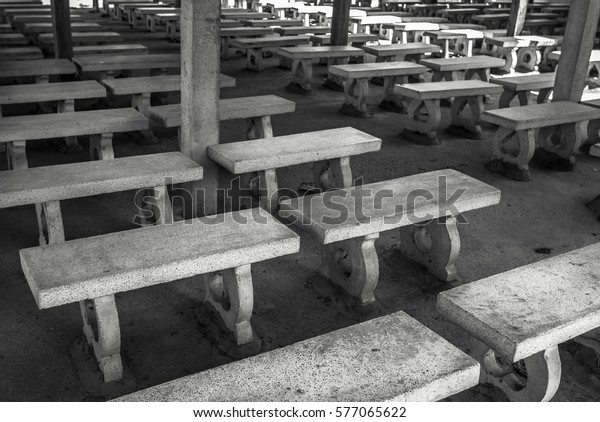 Pleasant Picturesque Rows White Stone Benches Perfectly Stock Photo Alphanode Cool Chair Designs And Ideas Alphanodeonline