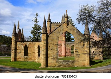 picturesque ruins of the gothic-style convict church at the port arthur historic site, port arthur, tasmania, australia