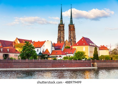 Picturesque scene of famous Tumski island with cathedral of St. John on Odra river. Colorful spring landscape in Wroclaw, Poland, Europe. Artistic style post processed photo.