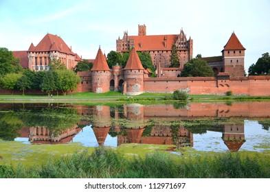 Picturesque scene of Malbork castle in Pomerania region, Poland