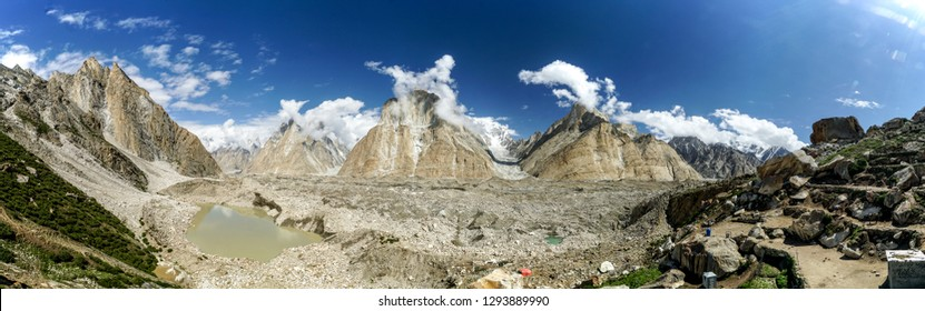 Picturesque scenery from campsite in Karakoram Mountain Range with the iconic peaks of Trango Towers in the view.