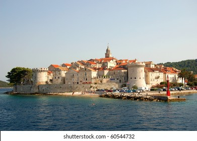 Picturesque scenic view on the Old Town of Korcula, Croatia