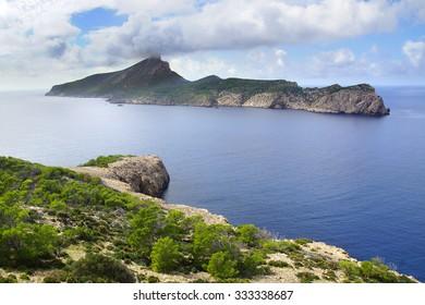 Picturesque sea landscape with Dragonera island. Mallorca, Balearic Islands in Spain