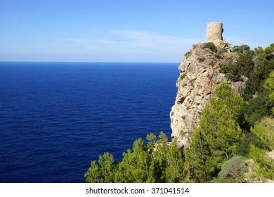 Picturesque sea landscape with fort ruins. Mallorca, Spain