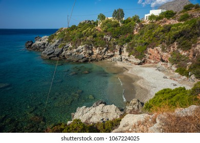 Picturesque seascape in Bay of Souda in Greece