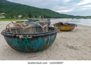 Picturesque seascape with coracles on Da Nang Beach Aug 2018