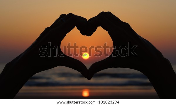 Picturesque seascape with symbol-heart in the foreground