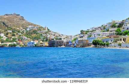 The picturesque seaside Agia Marina village in Leros island, Dodecanese, Greece
