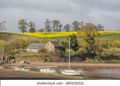 Picturesque seaside village of Cramond in Spring with fields of yellow rapeseed makes for a lovely visit on the outskirts of Edinburgh, Scotland.