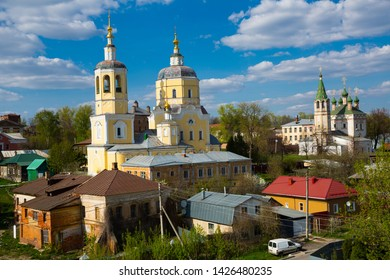 Picturesque Serpukhov cityscape with ancient Church of Prophet Elijah and Holy Trinity Church in sunny spring day, Russia