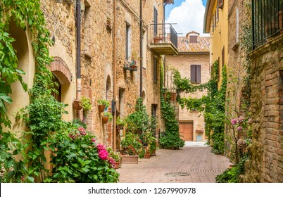 Picturesque sight in Pienza, Province of Siena, Tuscany, Italy.