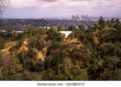Picturesque sights of Los Angeles. View of the city and the Hollywood Hills from the observation deck in Griffith Park