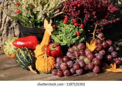 Picturesque small decoration in farm in Poland.  Vegetable with heathers composition. Autumn crops, harvest festival at the end of summer.
