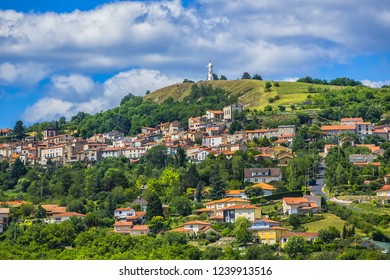 Picturesque Small French village in department of Puy-de-Dome, the region Auvergne, France.