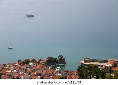 picturesque small harbour in a city in the mediterranean sea