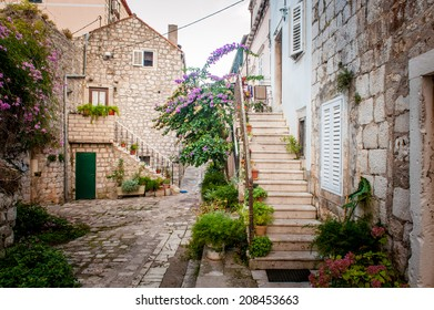 Picturesque small town street view in Mali Ston, Dalmatia, Croatia