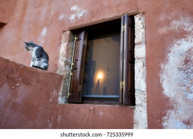 Picturesque spot with cat in the old town of Monemvasia Greece