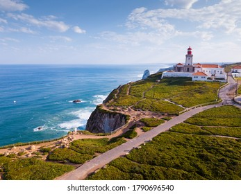 Picturesque spring Cabo da Roca landscape with lighthouse, Sintra-Cascais Natural Park, Portugal