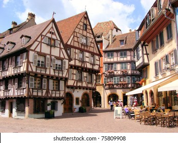Picturesque square in the Alsatian city of Colmar, France