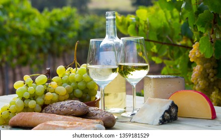 Picturesque still life – white wine, grapes and cheese against vineyard landscape