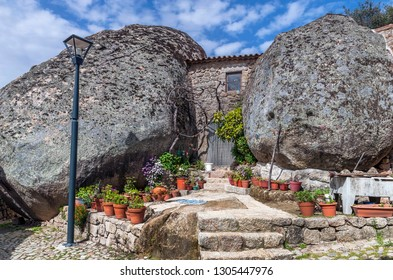 Picturesque stone houses of Monsanto village, Portugal