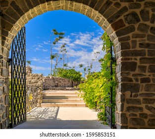 Picturesque stone walls and arched gate of the 15th century Citadel in the Old town in Budva Montenegro in the Balkans on Adriatic Sea