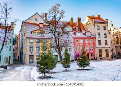 Picturesque street with colorful houses in the old town of Riga in winter at Christmas time, Latvia