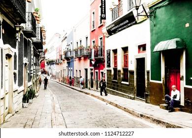 Picturesque street in Guanajuato. June 2015, Mexico.