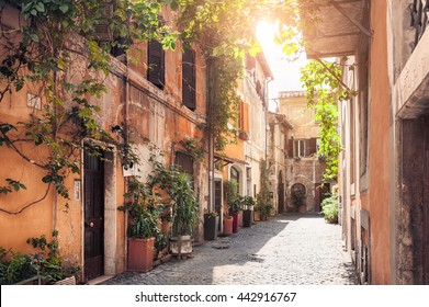 A picturesque street in the historic Trastevere district, Rome, Italy
