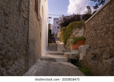 Picturesque street on the island of Ponza, Le Forna village in Ponza island.