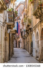 Picturesque street in Ortigia, Siracusa old town, Sicily, southern Italy.